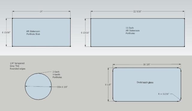 V-berth porthole, hatch, and aft stateroom porthole glass