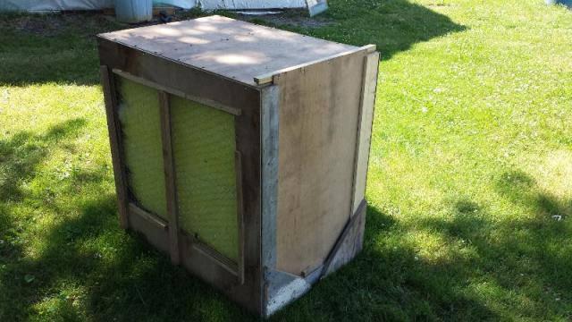 Filter box with plywood sliding door